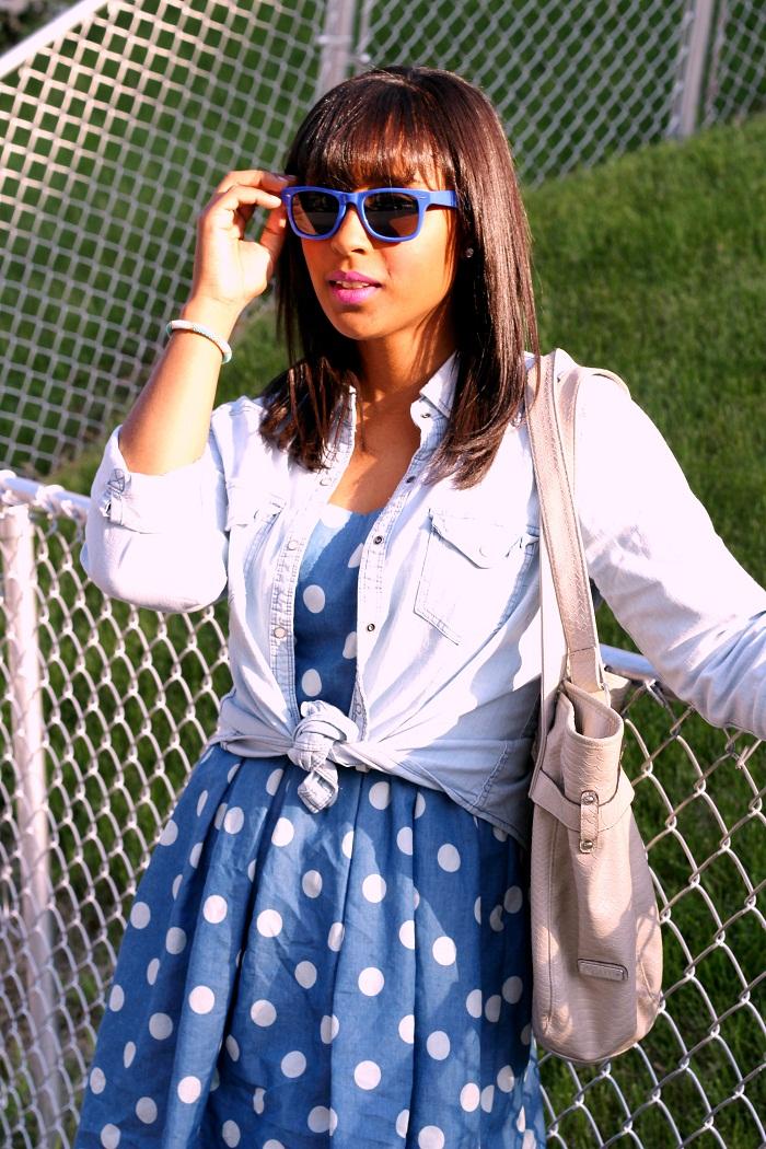blue sunglasses - Memorial Day Polka Dots