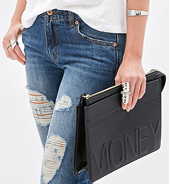 Faux Leather Money Clutch FOREVER21 1000117514 - The Best Clutch