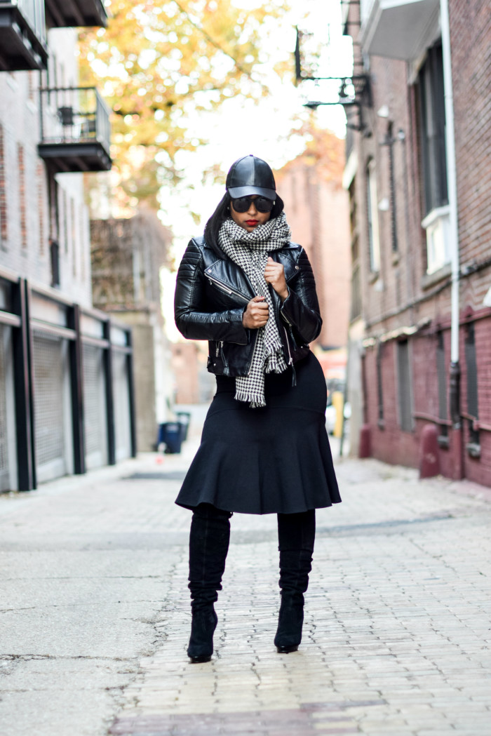blanket scarves and biker jacket
