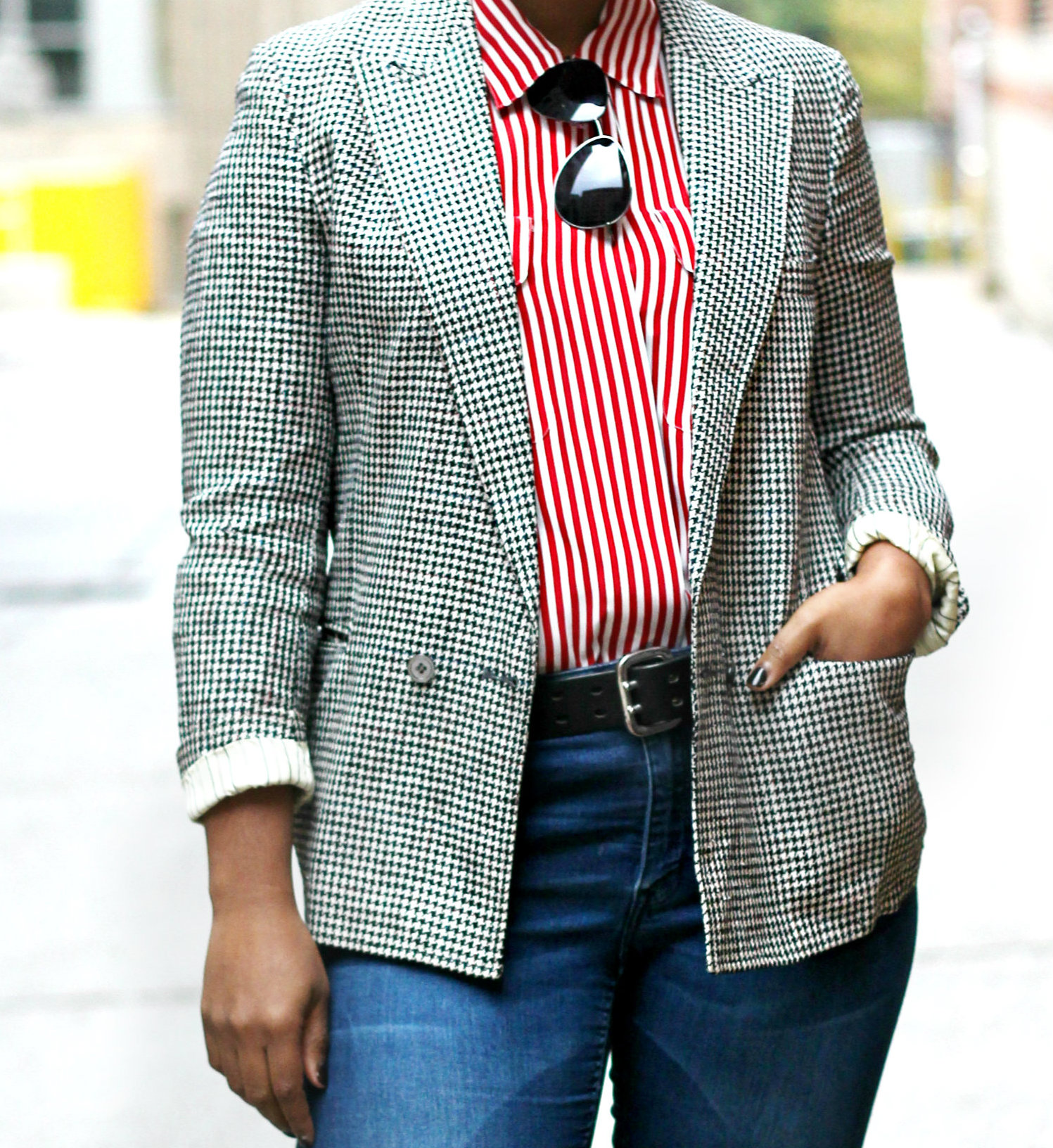 pattern mixing1 - Houndstooth and Stripes