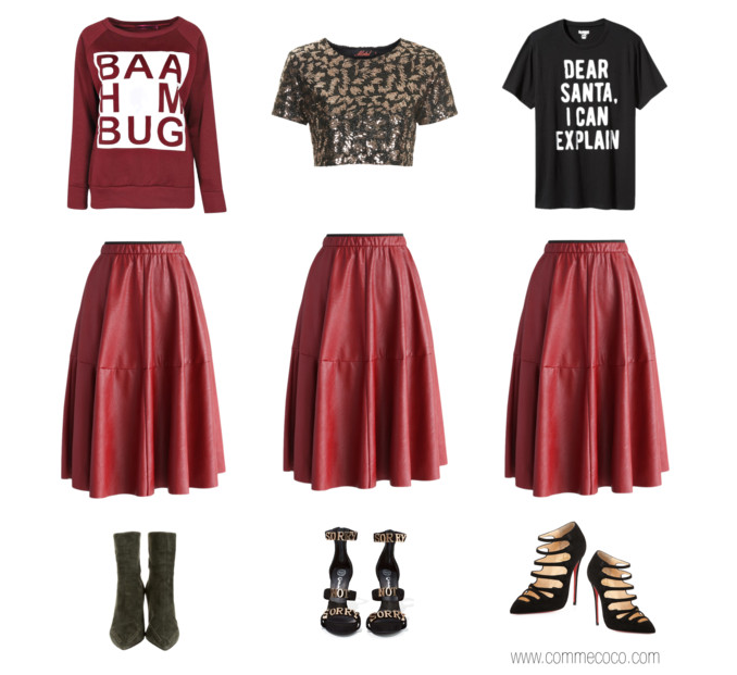 Red Leather Midi Skirt Looks for the Holiday Polyvore - Red Leather Skirt Styled 3 Ways