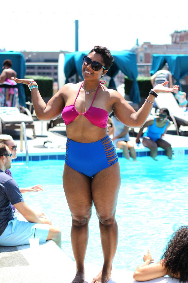 Curvy bbw by the pool