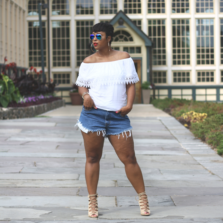 white fof shoulder and denim cutoofs 1 - Summer Uniform