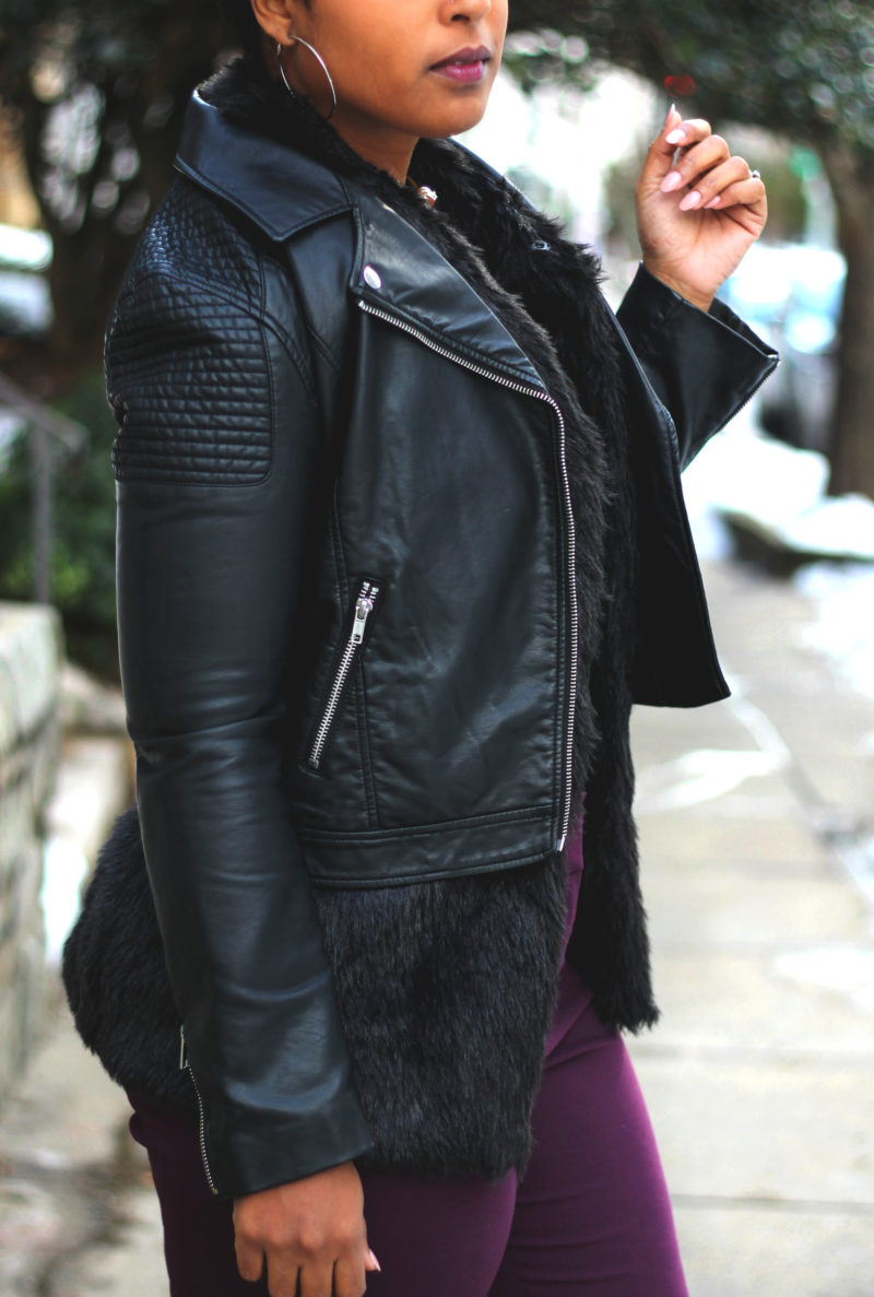 how to layer leather and fur