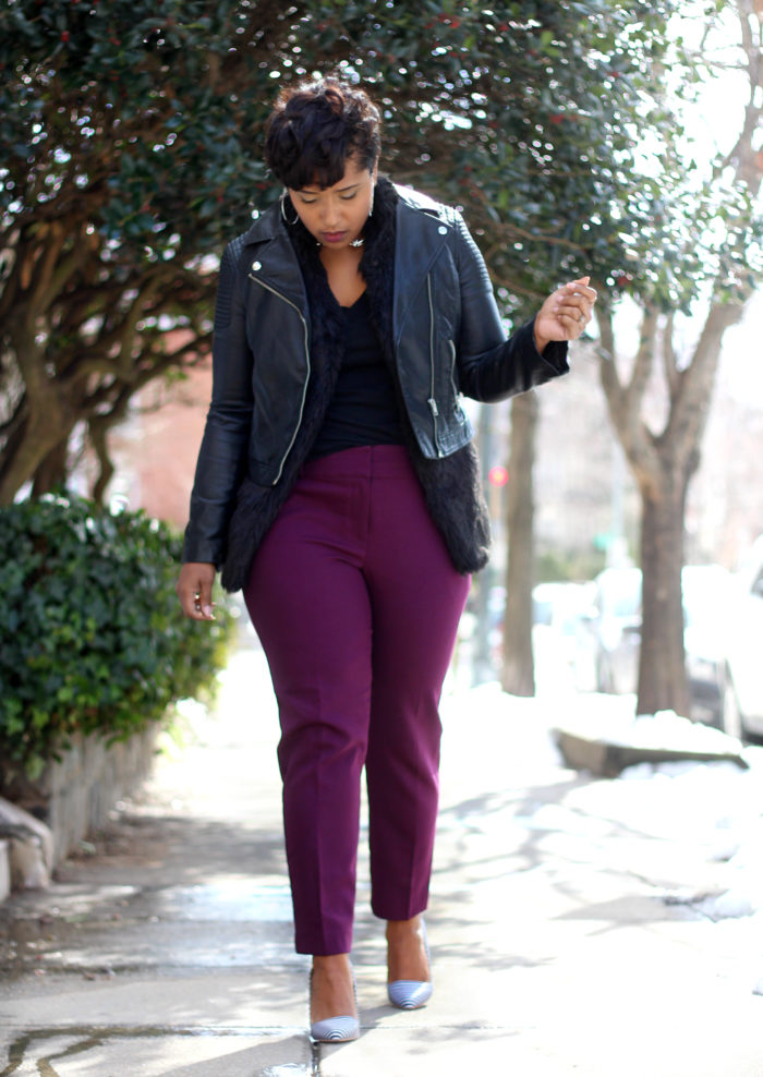 how to style purple pants