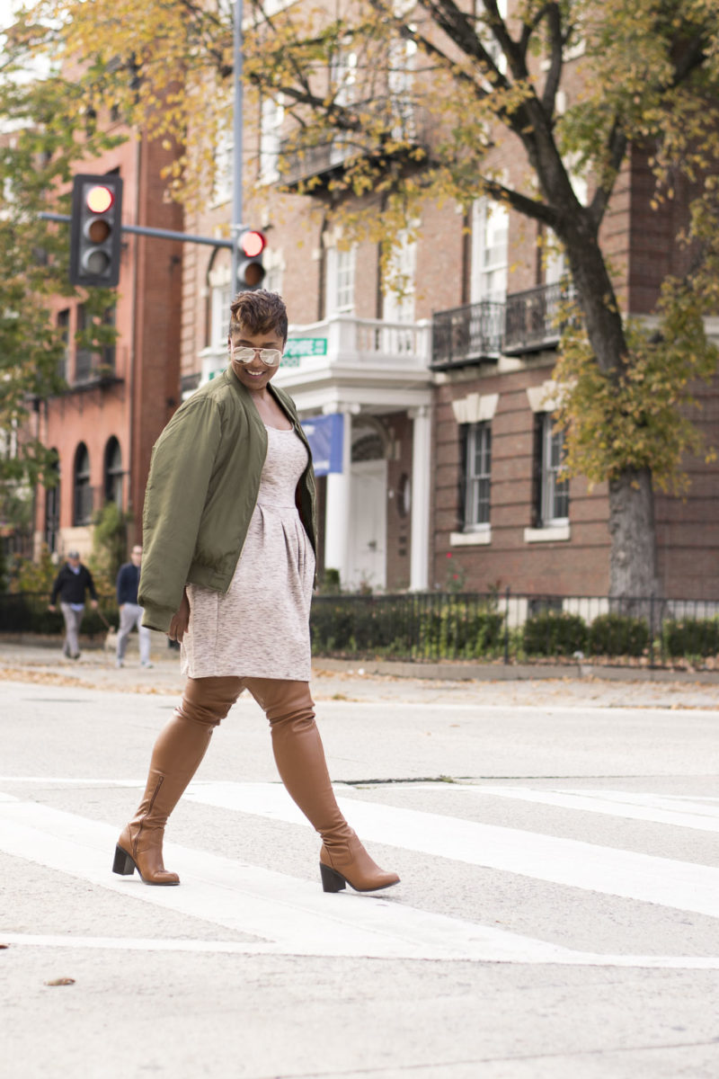 dc style blogger wearing fall trend bomber jacket