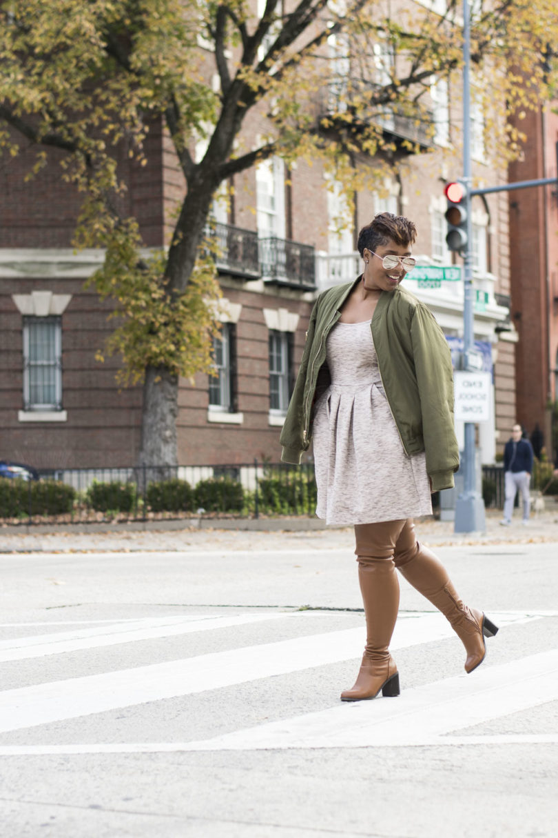 styling over the knee boots e1480477350682 810x1215 - How to Style a Bomber Jacket