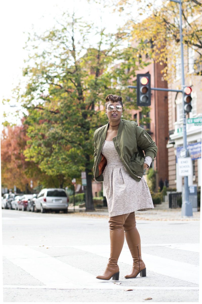 styling over the knee boots 1 800x1200 - How to Style a Bomber Jacket