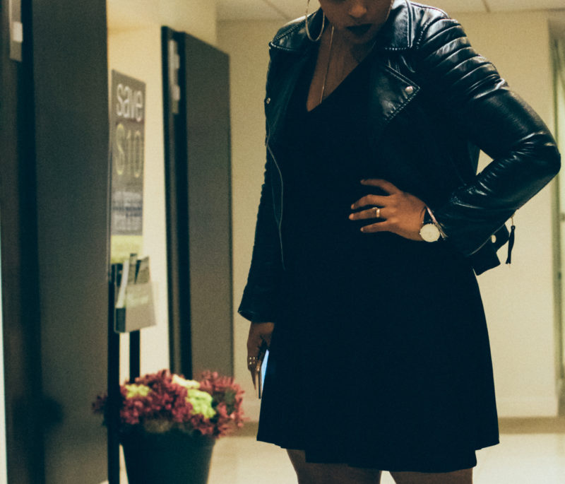top dc curvy blogger crystal couture all black outfit heels and socks style 29 800x685 - All Black Outfit at Crystal Couture