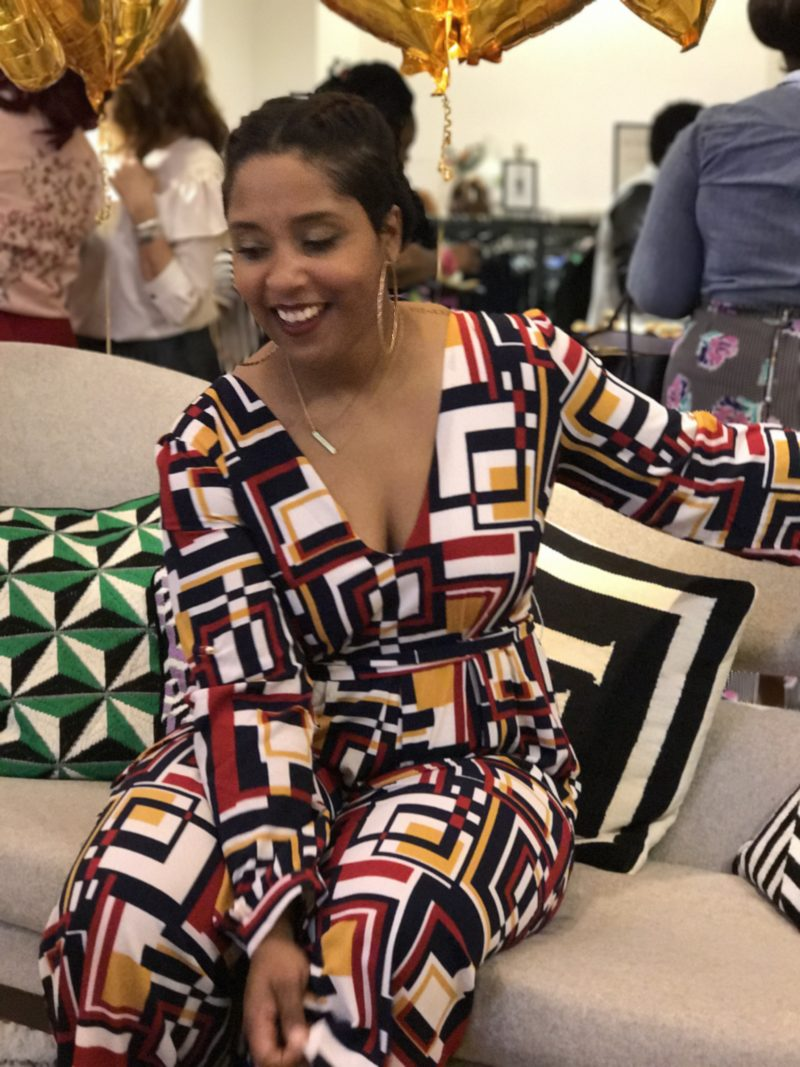 top dc blogger and photographer at eloquii store opening jumpsuit