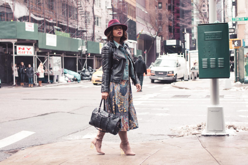 top dc blogger jennifer of comme coco at nyfw wearing printed dress layers winter style curvy-4