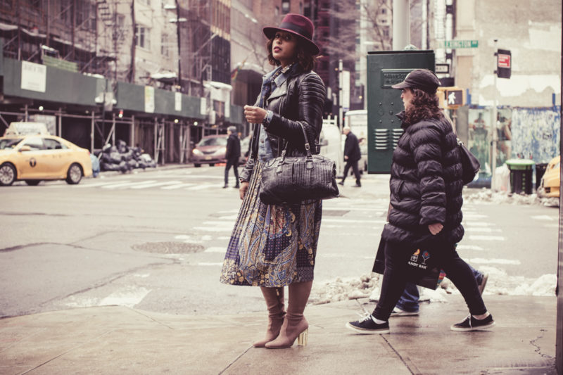 top dc blogger jennifer of comme coco at nyfw wearing printed dress layers winter style curvy-5