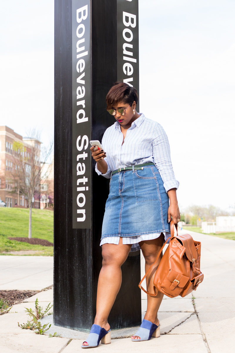 layering a denim mini with j jill spring style top dc blogger