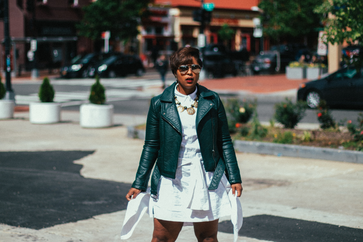 top dc blogger comme coco j jill linen red dress curvy blogger green moto jacket pixie cut spring style-27