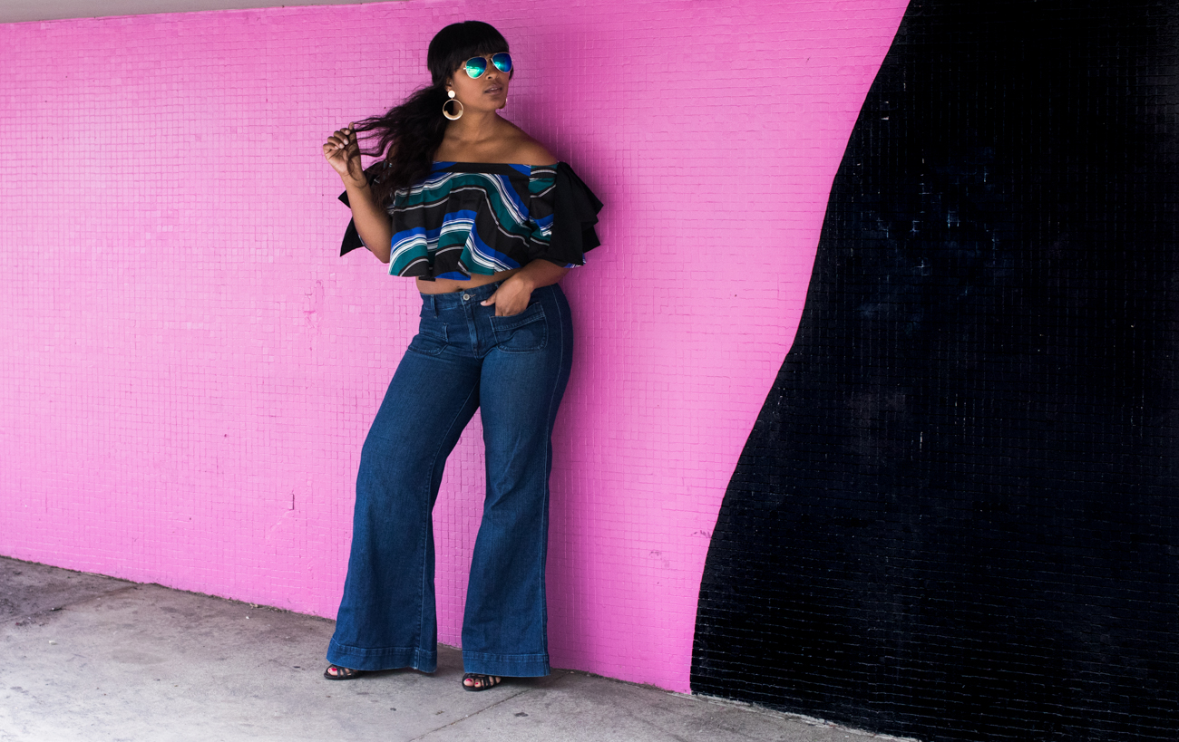 top dc blogger wearing eloquii off shoulder ruffle blouse with wide leg jeans spring style summer haitian 16 - Eloquii in Los Angeles