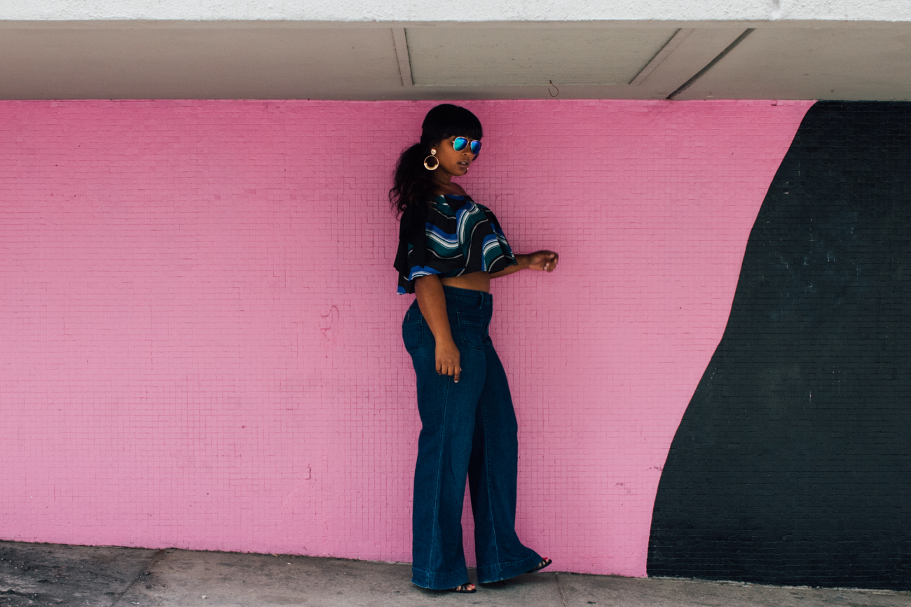 top dc blogger wearing eloquii off shoulder ruffle blouse with wide leg jeans spring style summer haitian 19 - Eloquii in Los Angeles